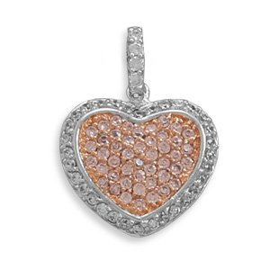 Rhodium Plated CZ Heart Pendant