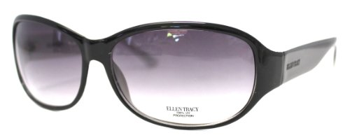 Ellen Tracy Sunglass Modified Rectangle Fashion Black Plasti