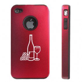 Apple iPhone 4 4S 4G Red Aluminum and Silicone Case Cover Wine Bottle Glass