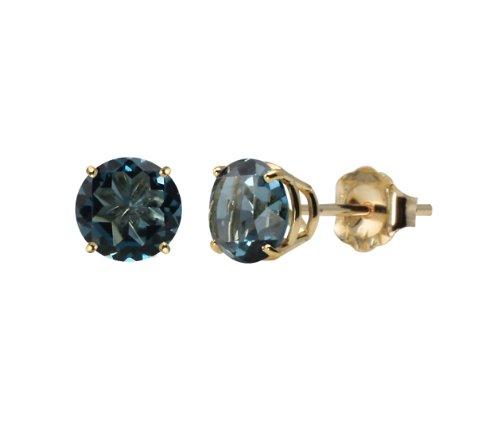 10k Yellow Gold Round London Blue Topaz Gemstone Earring Studs (6mm, 2.00 cttw)