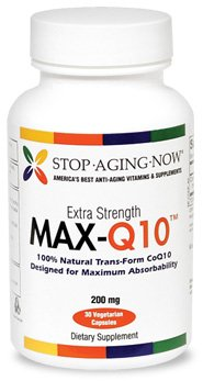 MAX-Q10® 100 mg Per Capsule of Trans-Form CoQ10 from Kaneka Q10 | 60 Veggie Caps. Made in the USA.