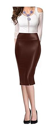 venusdesigns high waist faux leather midi below knee