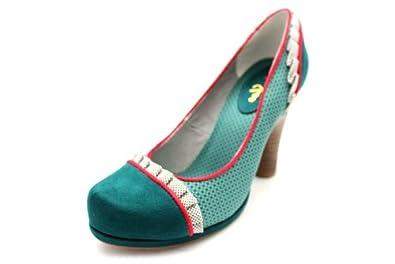 F10628E Ruby Shoo Womens Shoe Ruffle Trim Chunky Slip On Heels Shoes Size Uk 3