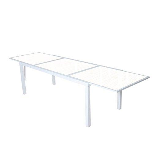 Papillon 8095600Jardin Aluminium Table de cristal Nice Blanc/beige