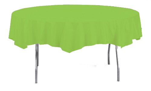 Creative Converting Octy/Round Plastic Table Cover, 82-Inch, Fresh Lime