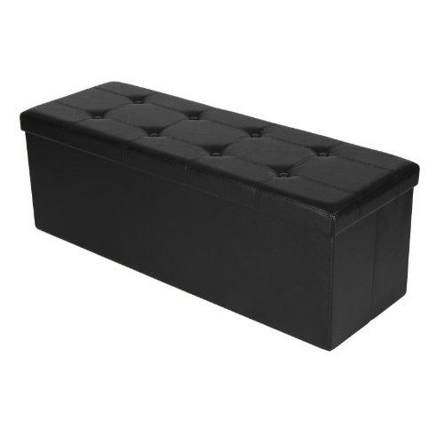 Songmics 110 x 38 x 38 cm Faltbarer Sitzhocker Belastbar bis 300 kg Sitzwürfel Aufbewahrungsbox Schwarz LSF701