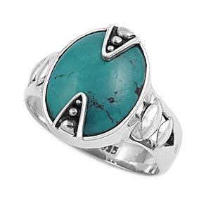 17Mm Southwest Vintage Luxury Antique Sleeping Beauty Green Turquoise Navajo Arizona Spirit Inspired - Sterling Silver Ring Size 6-10 (9)