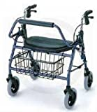 "Rollator - 600 lb Capacity Blue Mighty Maxi is the most Heavy Duty Rolling Walker that is functional for the user and has the signature extra wide (20"") oversized padded seat and back rest for added comfort when resting."