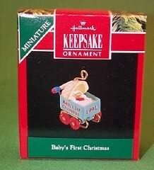 Hallmark 1991 - Baby'S First Christmas - Cradle - Miniature front-1004762
