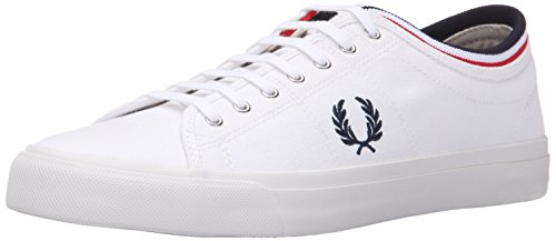 Fred Perry Men's Kendrick Tipped Cuff Canvas Fashion Sneaker, White/Navy/Bright Red, 9 UK/10 M US (Perry Shoes compare prices)