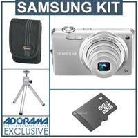 Samsung ST65 Digital Camera - Silver - Bundle - with 4GB Micro SD Memory Card, Camera Case, Table Top Tripod