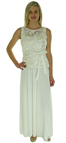 Onyx Nite Women's Sleeveless Lace Bodice Dress Ivory 2