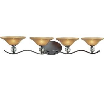 Minka Lavery 6484-167B, Grahmton Glass Wall Vanity Lighting, 4 Light, 160 Watts Halogen, Bronze
