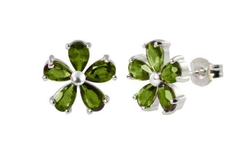 Sterling Silver Peridot Flower Earrings (1.50 cttw)