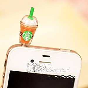 Cyprustech - Hot New Starbucks Coffee Style 3.5mm Headphone Anti-dust Plug Cap for Iphone 4 4S Samsung Galaxy HTC LG - Brown Color