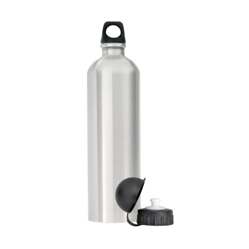 PMCI 34 Oz. (1 liter) Satin Finish Stainless Steel Reusable Water Bottle with Sport Cap and Loop Cap