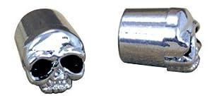 Skull Valve Stem Dust Caps (Pair) for Motorcycle/Car/Trike Tyres - Black Eyes