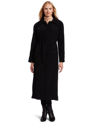 London Fog Women's Long Single-breasted Raincoat Trench, Black, 8