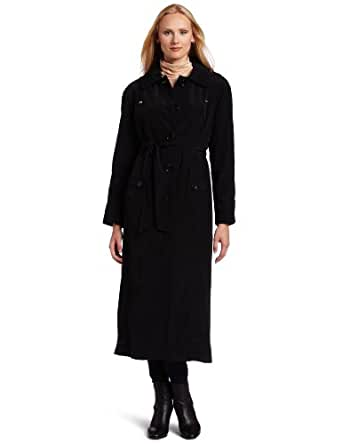London Fog Women's Long Single-breasted Raincoat Trench, Black, 16
