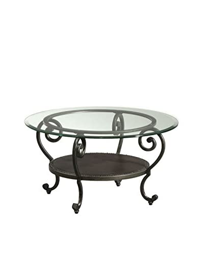 Bassett Mirror Company Dauphine Round Cocktail Table, Pewter