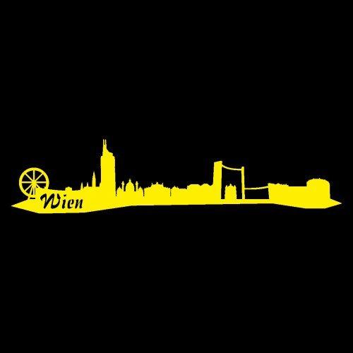 Wandtattoo Wien Skyline Wandaufkleber viele Farben und Größen sofort lieferbar in 8 Größen und 25 Farben (30x6,7cm gelb)