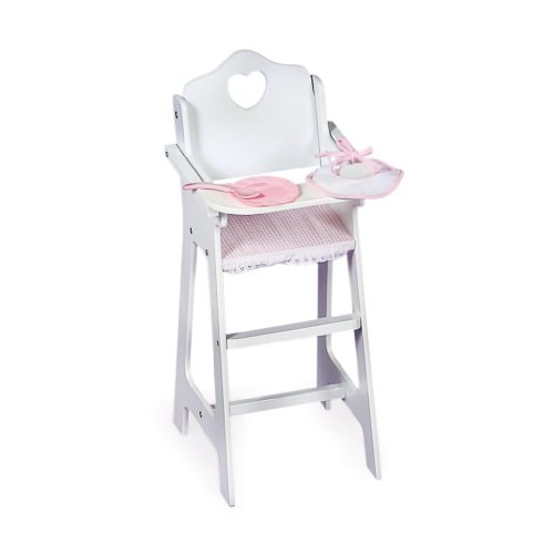 Toy / Game Badger Basket Doll High Chair With Plate Bib And Spoon - Pink/White With Accessories For More Fun front-932937