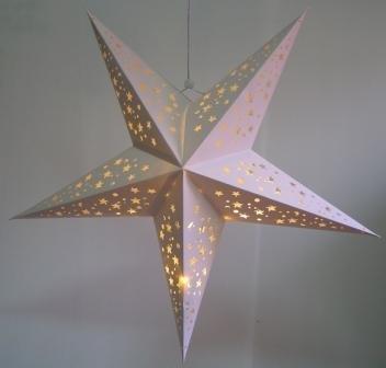 Large White Hanging Star Lantern With Led Battery Lights