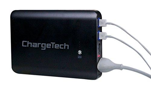 ChargeTech - AC差込口とUSBポート付き27,000mアンペア黒持ち運び式バッテリーパック - MacBook, ノートパソコン, iPhone, iPad, Samsung Galaxy, Note Tab, Nexus, HTC, Motorola, GoPro, キャンピング対応