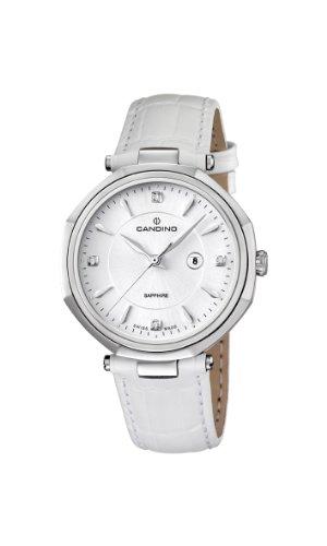 Candino C4524/2 - Reloj analógico de cuarzo para mujer, correa de cuero color blanco