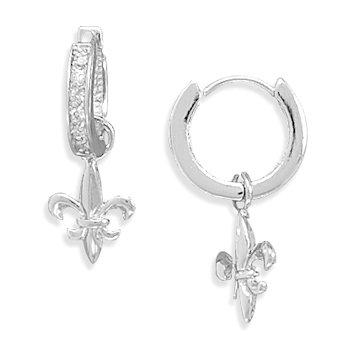 Rhodium Plated CZ Hoop Earrings with Fleur- de -Lis Charm
