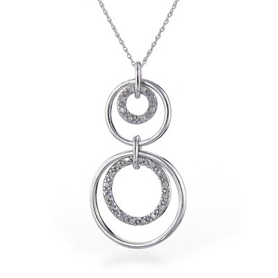 Sterling Silver & Diamond Circles Pendant with 18
