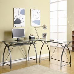 Buy Low Price Comfortable Ferguson Contemporary Metal L Shaped Computer Desk with Glass Top by Coaster (B0051PDZO2)