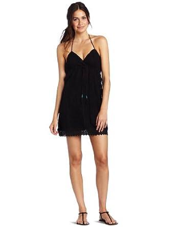 Roxy Juniors Starry Scene Halter Dress, Black, X-Small