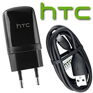 HTC Competible For All HTC Smartphones USB Charger Adapter With Data Cable with Box Packing (Black)