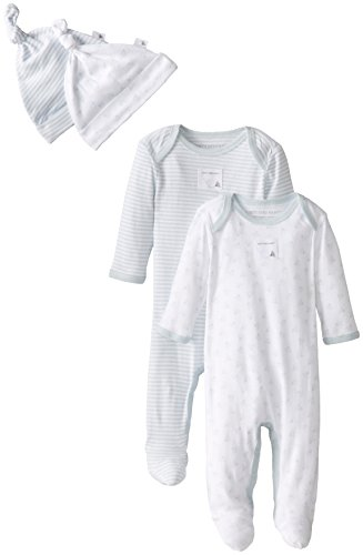 Burt's Bees Baby Boys Organic Coveralls and Knot Caps, Sky, 3-6 Months, Set of 2