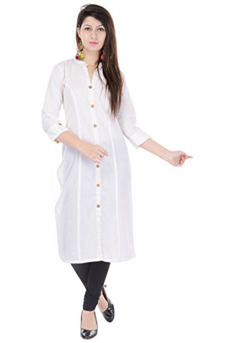 Mystique India Solid Off White Cotton Women Kurti