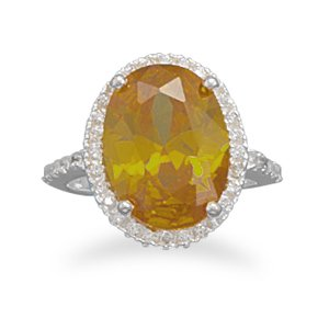 Sterling Silver Yellow and Clear CZ Ring / Size 6