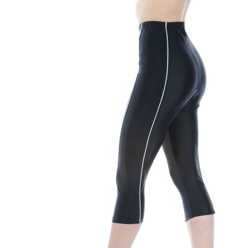 Buy Low Price Tenn Ladies Padded 3/4 Cycle Cycling Leggings Tights – Black with White Piping (B006GQUWWI)