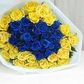 神秘の青いバラと黄色のバラの50本ブーケ☆(生花)