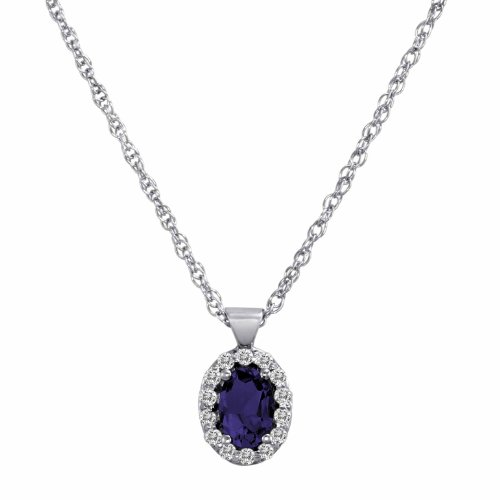 DivaDiamonds 18ct White Gold Oval Blue Sapphire and Diamond Pendant w/18 Inch Solid White Gold Chain (3/4 cttw, F-G, VS)
