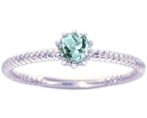 14K White Gold Petite Round Gemstone Solitaire Stackable Ring-Aquamarine, size5