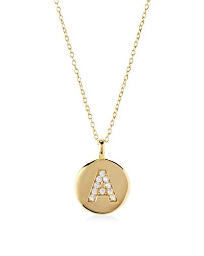 Argento Vivo CZ Encrusted A Initial Pendant Necklace