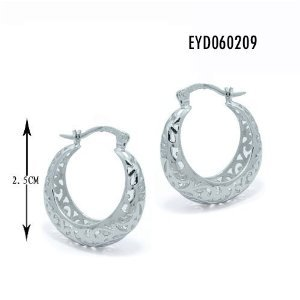 Contemporary Designed Sterling Silver Hoop Earrings with Rhodium Plated