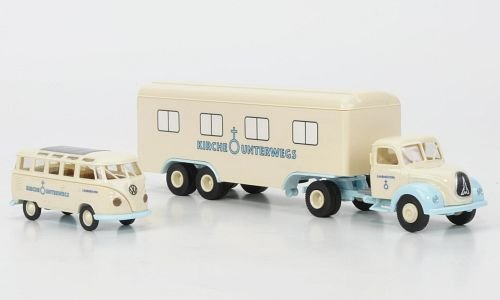 Set-Kirche-unterwegs-Magirus-Mercur-Koffersattelzug-VW-T1b-Samba-Bus-Modellauto-Fertigmodell-Brekina-PMS-187