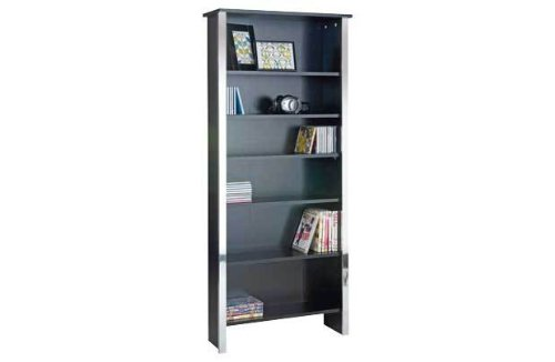 Black and Chrome Modern DVD and CD Storage Unit