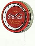 "COCA COLA 18"" DOUBLE NEON LIGHT CHROME CLOCK BOTTLE RETRO TIN SIGN VINTAGE BUTTON STYLE RED"