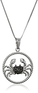 Sterling Silver Black Diamond Zodiac Cancer Pendant Necklace (1/10cttw), 18