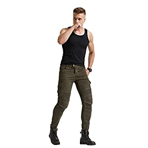 Army green, L=32 Mens Motorcycle Riding Pants Denim Jeans Protect Pads Equipment with Knee and Hip Armor Pads VES6