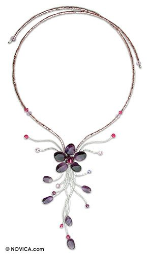 Amethyst flower necklace, 'Purple Forest'