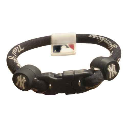 Phiten Custom New York Yankees Navy Blue Titanium Bracelet with Yankees Trim and Navy Clasp 8″